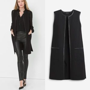 WHBM Ponte Topper Faux Leather Lined Cardigan